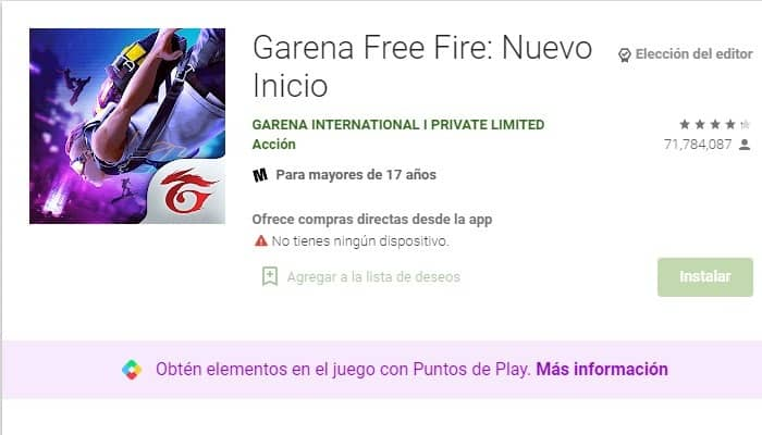Play Store: Garena Free Fire